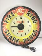 Vintage Ac Delco Fire Ring Spark Plugs Lighted Clock Lights And Works