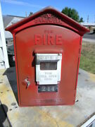 Vintage Gamewell Fire Alarm Box With Working Key Some Internal Parts