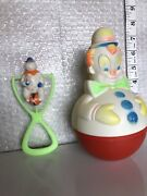 Vintage Roly Poly Type Colorful Clown Rattle Toy 1977 Sanitoy Antique With Clown