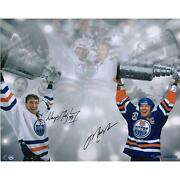 Wayne Gretzky And Mark Messier Edmonton Oilers Signed 16 X 24 Stanley Cup Photo