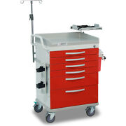 Detecto Wc333369red-l 6-drawer Whisper Medical Cart Red With Accessories