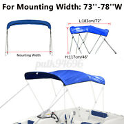 600d 3 Bow 73-78 W 6ft Long Bimini Top Replacement Canvas Cover With Boot Blue
