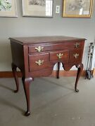 19th Century Queen Anne Style Solid Mahogany Lowboy Cabinet With Cabriole Legs