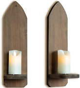 Irisvita Brown Wall Mount Wooden Candle Holders, Gothic Candle Holder, Sconces W