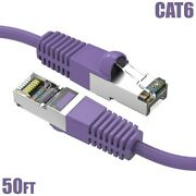 50ft Cat6 Rj45 Ethernet Lan Network Sstp Cable Shielded Copper Wire 26awg Purple