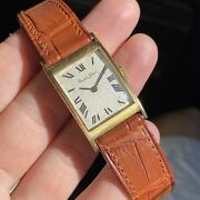 Gents Bueche Girod 18k Solid Gold Tank Vintage Watch White Roman Numerals Dial