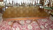 Antique Mahogany Sheridan Dining Table With Custom Glass Top Protector