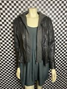 Mauritius Yoa Sf Womenandrsquos Hooded Lamb Leather Jacket In Black/charcoal   M