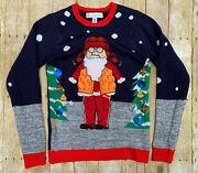 Womens S Jolly Sweaters Christmas Ugly Embroidered Ornament Santa In Orange Vest