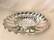 Vtg 2 Pc Reed And Barton 110 Holiday Scalloped Curved Silver Plate Tray Platter