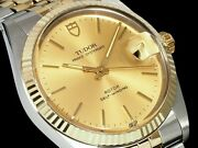 Auth Tudor Watch Oyster Date 74033 Yg Ss Gold Dial Case34mm Arm18.5cm