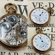 Rare Waltham Maximus Riverside 23 Jewels Clear Back Gold Plated Pocket Watch
