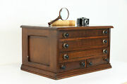 Spool Cabinet, Jewelry, Collector Chest Victorian Antique Cherry Merricks 38760