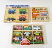 Set Of 3 Melissa And Doug Vehicles - Train Cars, Vehicles And Signs And Stamp Set