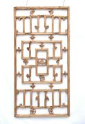 Antique Chinese Wooden Carved Geometric Lattice Window Screen Shutter Panel