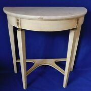 Antique/vtg French Provincial Wood Marble Top Half Circle Demilune Console Table