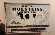 Original Registered Holsteins Cow Farm Double Sided Sign 24 X 36.
