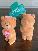 Lot Of 2 Vintage Flocked Teddy Bear Figurines Valentine And St Patrick's Day 1980s