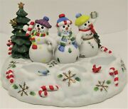 Partylite Snowbell Tealight And Pillar Candle Holder Snowman Family Christmas.
