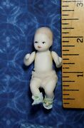 Vtg Dollhouse Miniature Jointed Bisque Porcelain Baby Doll 112 Non-posable Boy