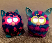 Furby 2012 Boom Blue And Pink Hearts And Orange Stars Talking Pets Lot Of 2 Works