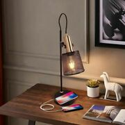 Iron Metal Net Desk Lamp Usb Charging Port Led With Switch Plug Table Lights