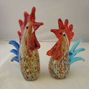 Murano Style Art Glass Rooster Chicken Figurine Paperweight Lot Of 2 Super Rare