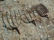 3 Vintage Cast Iron Pitchfork Heads Old Farm Tools Rustic Country Yard Art Rural