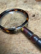 Antique Vintage Faux Tortoiseshell Magnifying Glass Hand Held Desk Top Study