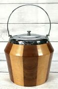 Antique Maple Wood Ice Chest Bucket Wine Whiskey Barrel Cooler Porcelain Lined