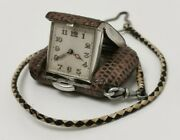 Vtg 1929 Arthur Rendell Solid Sterling Silver And Leather Purse Travel Watch And Fob