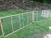 Antique Victorian Two Leaded Glass Panels 37 X 93 Original Wavy Glass