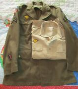 Wwii Us Army Military Shirt And Wool Dress Coat Jacket With Insignias Patches