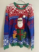 Jolly Sweaters Christmas Ugly Santa With Sunglasses Presents Sequins Size L