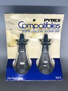 Vintage Pyrex Compatibles Old Town Blue Glass Salt And Pepper Shakers Nos Nip
