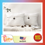 Phantoscope Pack Of 2 Farmhouse Throw Pillow Covers Button Vintage Linen New