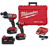 Milwaukee M18 Fuel 18v Cordless Hammer Drill/impact Driver Combo + Extras