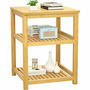 Bedside Table End Table Bamboo Bed Side Table Printer Stand Soft Natural