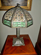 Gorgeous Antique Bradley And Hubbard Arts And Craft Slag Glass Table Lamp
