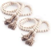 2- Pack Wood Bead Garland W/ Tassels Farmhouse Beads Rustic Home Decor New 58in
