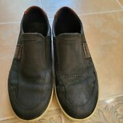 Euc Ecco Byway Sneaker Slip On Black Leather Menand039s Shoes - Size Eu 44 Us 11