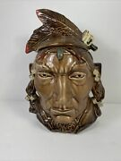 Mccoy Pottery Indian Head Cookie Jar Rare Brown
