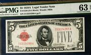 1928a 5 Pmg63 Epq Choice Uncirculated Us Legal Tender Note Woods/mills Red Seal