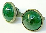 Pair Vintage Green Faceted Jewel License Plate Reflectors Auto Car Motorcycle