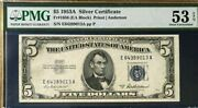 1953a 5 Silver Certificate Pmg53 Epq About Uncirculated Priest/anderson Fr1656