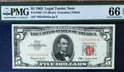 1963 5 Legal Tender Red Seal Star Note, Pmg66 Epq Gem Uncirculated,   3723