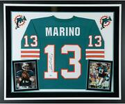 Dan Marino Miami Dolphins Deluxe Frmd Signed Mitchell And Ness Teal Replica Jersey