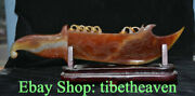 15.2 Boutique Chinese Natural Agate Chalcedony Feng Shui Dragon Scraper Knife