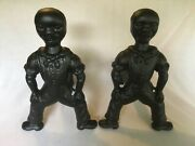 1800and039s Antique Americana Figural Cast Iron Andirons Fire Dogs - Black Boy Sailor