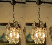 Pair Of Antique Vnt.french Basket Style Crystal Chandelier Lamp Light 1940and039s..